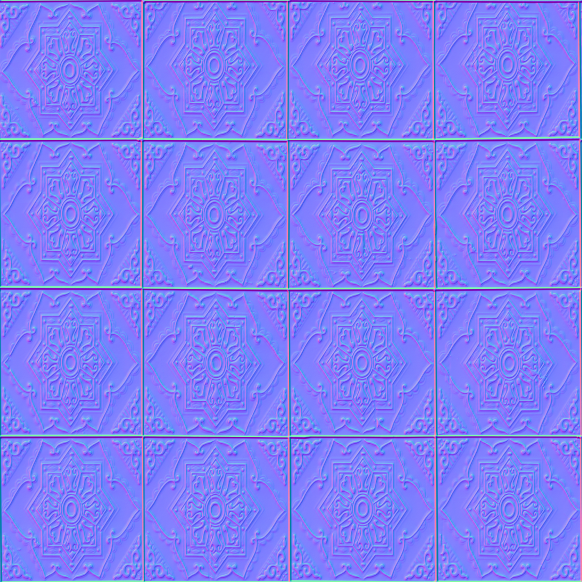 Ornate-Tiles-01-Normal - Seamless